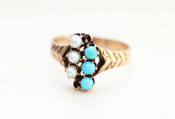 Turquoise Victorian Ring, Pearl Victorian Ring, Vi