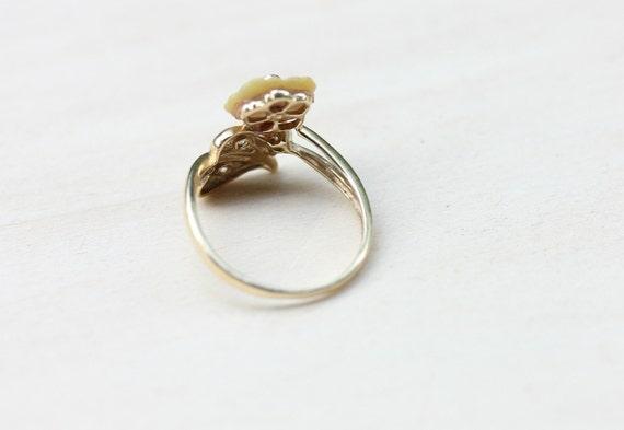 Flower Lucite Ring, Gold Flower Ring, Lucite Ring… - image 3