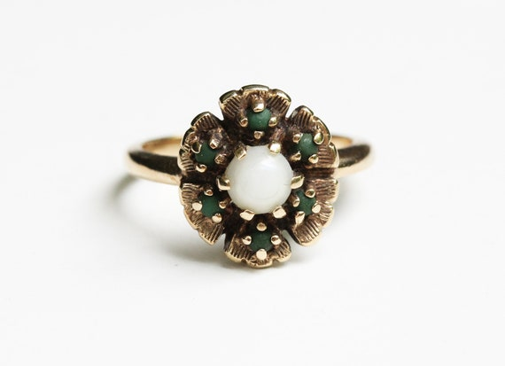 Flower Ring Gold, Flower Ring, Pearl Ring, Gold Cl