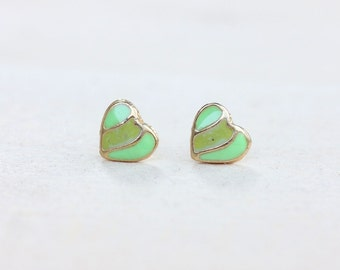 Green Stripe Heart Studs