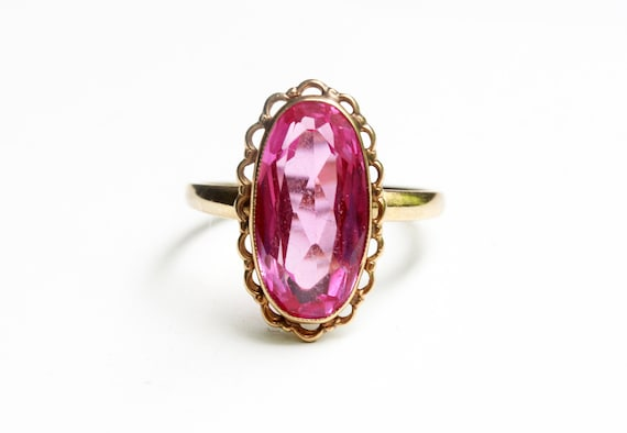 Pink Stone Ring, Gold Pink Ring, Pink Ring, Oval S