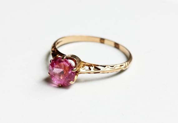 Victorian Pink Ring, Pink Stone Ring, Gold Victori