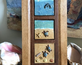 Baby Sea Turtle Voyage art tile, triptych relief sculpture, ceramic tile