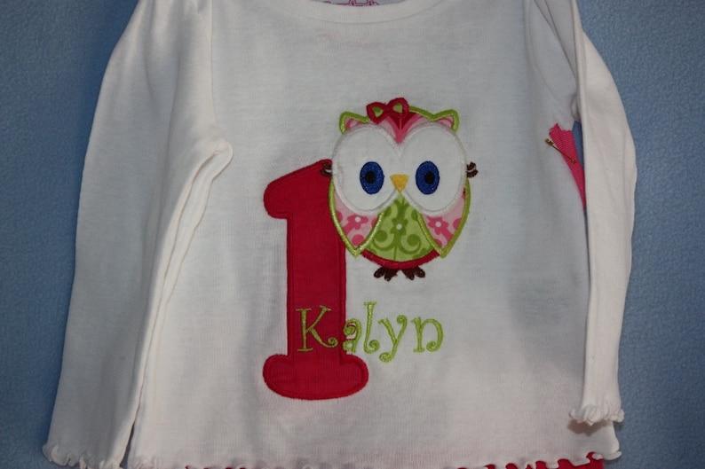 1st Birthday owl tshirt    or 2nd 3rd 4th birthday  short seleeves too
