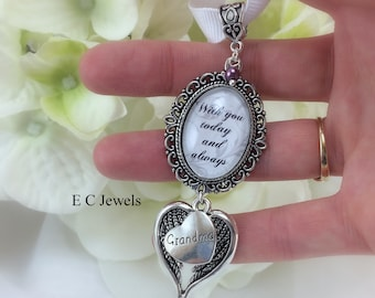 Angel Wing Bouquet Charm with Pearl Accent