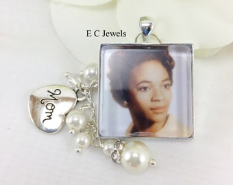 Custom Bouquet Charm with a Memory Charm,Pearl and Crystal Drop - Pick your color