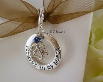 Forever in my Heart Bouquet Charm with Pearl Accent - Something Blue