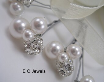 Pearl and Crystal Cluster Hairpins - Pick your Color