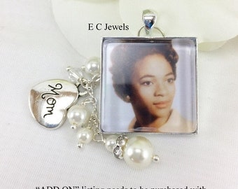 Memory Charm,Pearl and Crystal ADD ON for your Custom Bouquet Charm - Pick your color