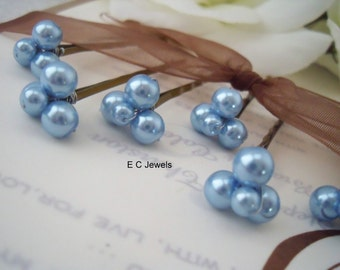 Baby Blue Bridal Hairpins
