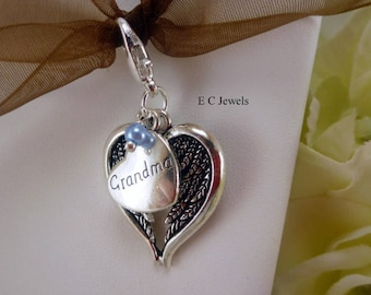 Angel Wing Bouquet Charm with Pearl Accent - Something Blue