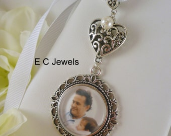 Wedding Bouquet Memorial Photo Charm with a Pearl Accent - Pick your color