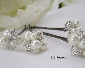 Pearl, Rhinestone Cluster Hairpins - Pick your Color