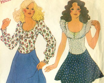 Vintage 70s McCalls 3905 Misses Scoop Neck Empire Waist Top and Maxi or Mini Skirt Sewing Pattern Size 12 Bust 34