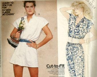 Vintage 80s McCalls 2391 Misses Front Button Jumpsuit or Romper Sewing Pattern Size 10-14 Bust 32.5-36