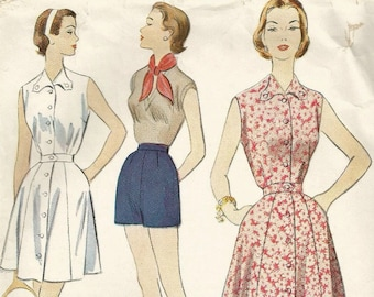Vintage 50s McCalls 9765 Misses Long or Short Tennis Dress and Shorts Sewing Pattern Size 14 Bust 32