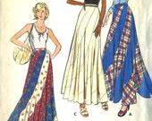 Vintage 70s Butterick 3557 UNCUT Misses Bias Swirl Maxi Skirt Sewing Pattern Size Waist 25