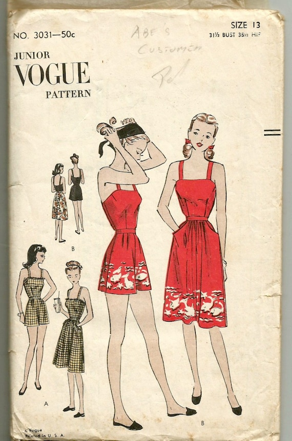 """Vintage década de 1940 Patrón De Costura Traje de Baño Traje de Baño Playa Abrigo Busto 32/"""" Pinup"""