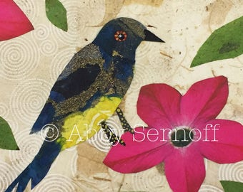 Bird artwork, Original,  Bird lover gift, Canvas painting, Collage, Whimsical, Home decor, 5 x 7