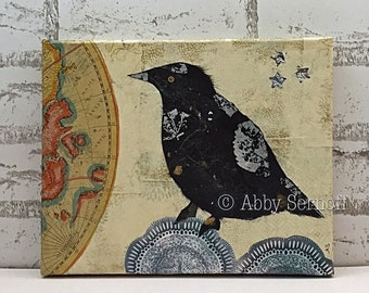 "Original Art, Crow, Canvas Art, Collage, Home Decor, Bird, Nature, Raven, Woodland, Mixed Media Collage, 8'"" x 10"""
