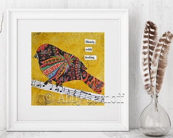 Bird, Collage, Giclee print, Colorful art, Bird lover gift, Whimsical Art, Collage art, Prints, Art print, Paisley, Room decor,