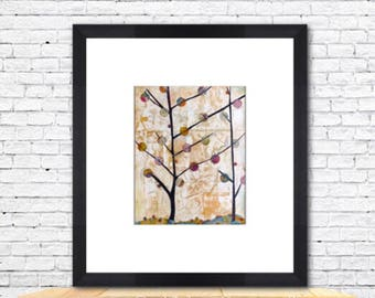 Collage, Tree Art, Print, Home Decor, Bedroom, Living Room, Wall Decor, Nature Inspired, Whimsical, Giclee Art Print, Woodland