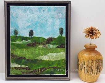 "Landscape Painting, Canvas Art, Fields, Nature Lover, Framed, Original, Collage, Colorful Artwork, 8"" x 10"", Art Decor, Ready to Hang"