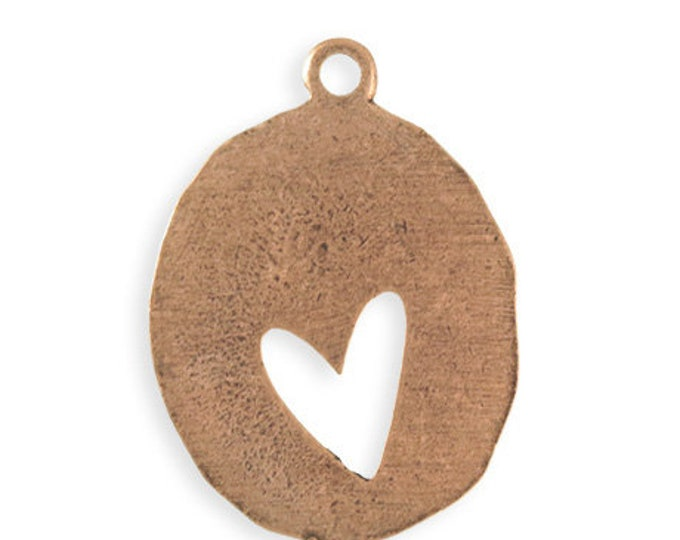 Organic Heart Blank Pendant, Copper Antique Plated 36 x 26mm, Vintaj PT123-170
