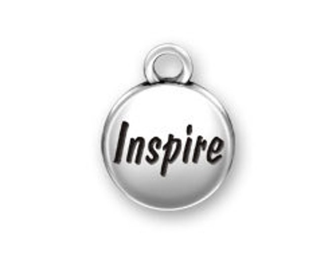 Sterling Silver INSPIRE domed round charm