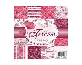 Always and Forever Romantic and floral Paper Pack 12 designs 36 sheets 6x6
