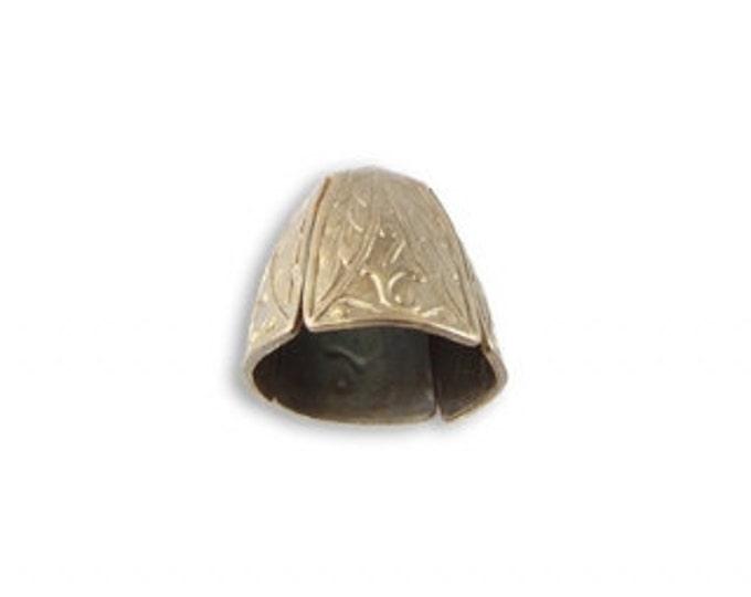 2 Roman Leaf Large Bead Caps, Vintaj Natural Brass BC012