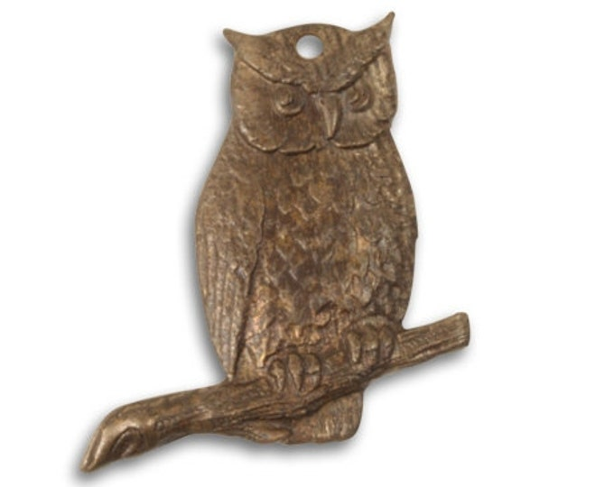 Set of 2 Brass Perching Owl Pendants by Vintaj Item P0011 23x23mm, Brass Owl Pendant