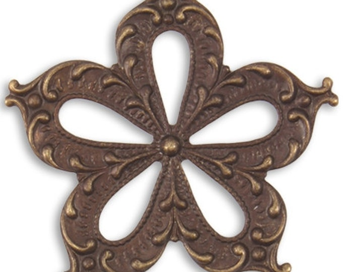 1 Piece 45mm Primrose Petals Brass Pendant or Drop Vintaj Brass Item P356