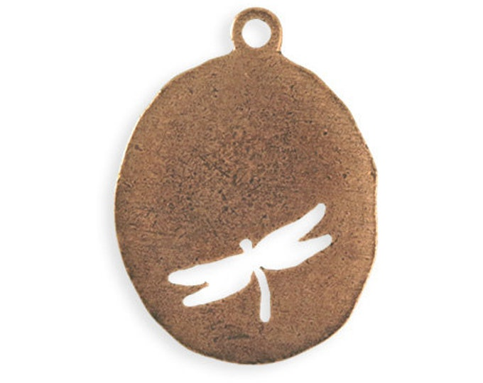 Organic Oval Dragonfly Blank, Copper Antique Plated 36 x 26mm, Vintaj PT122-170