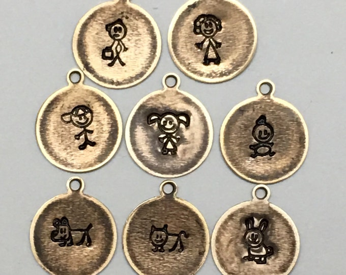 Stick Figure Family and Pet Brass Charms Hand Stamped