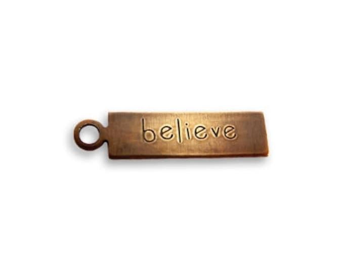 6 pieces tiny BELIEVE tag charm, Rustic Rectangle Charm, 20x4.5mm , Vintaj Natural Brass, Vintaj DP253