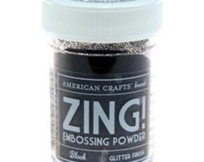 Black Glitter finish Embossing Powder, Zing Embossing Powder, 1 oz Jar, Black Embossing Powder