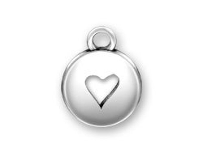 Sterling Silver HEART Domed charm