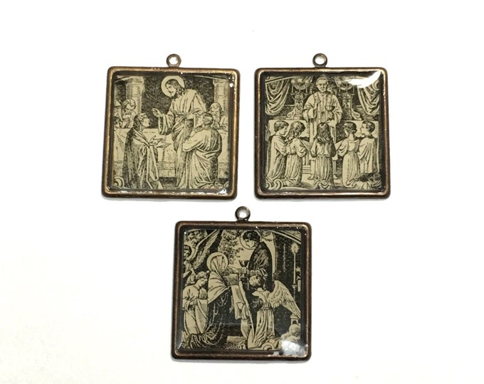 ONE Religious image Pendant, from vintage French Religious text