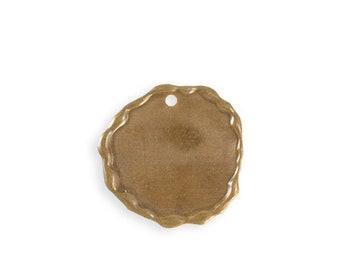 2 pieces Soldered Circle Blank Natural Brass 21x20mm Vintaj Natural Brass P283