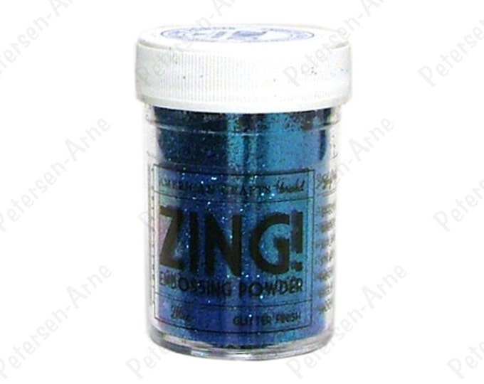 Blue Glitter finish Embossing Powder, Zing Embossing Powder, 1 oz Jar, Blue Embossing Powder