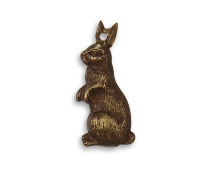2 Pieces 25x10mm Artful Rabbit Brass Charm, Vintaj Brass Item DP184
