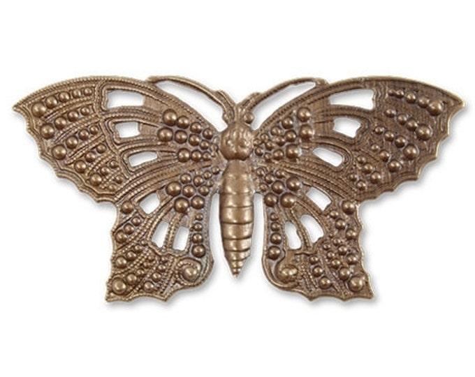 69mm Butterfly Element- Brass, Altered art embellishment, scrapbook, jewelry, VIntaj p021