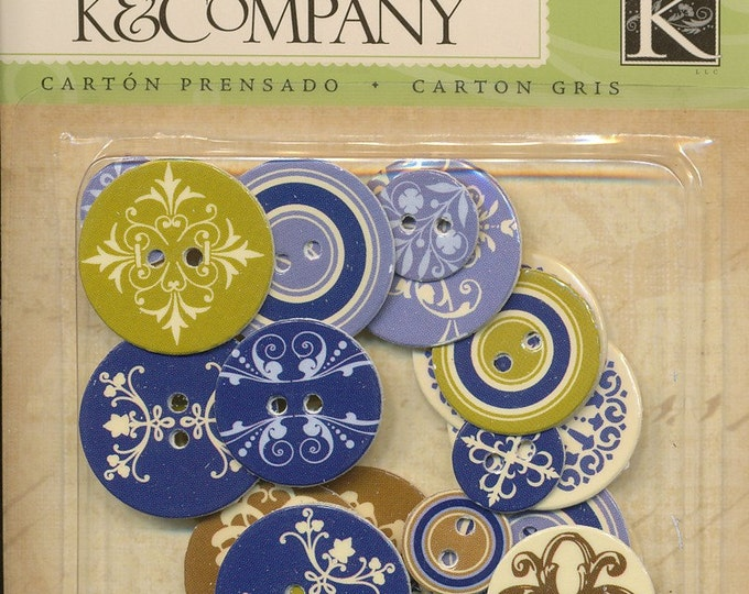 Chipboard buttons by K and Company - Blue Awning Collection