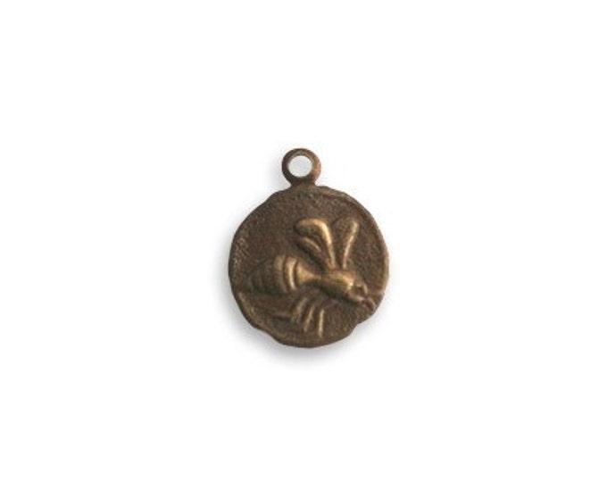 SALE: 4 Pieces Teensie Bee Charm Natural Brass Vintaj Item DP291