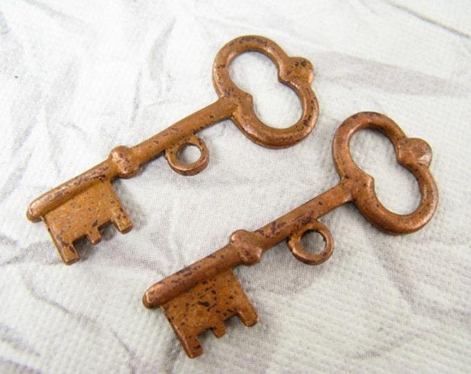 2 Pieces Copper Archival Key, Vintaj Key Item CP0006, Size 34x14mm