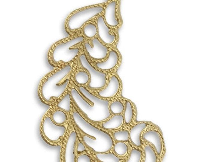 2 pieces Brass Filigree Flourish Pendant or Drop Vintaj Vogue PV064 39x24.5mm