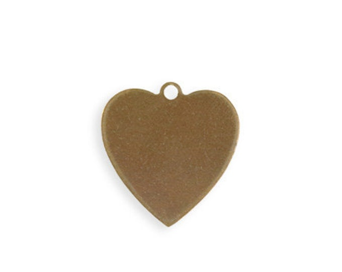 4 pieces 20mm Heart Blank Natural Brass Vintaj P456