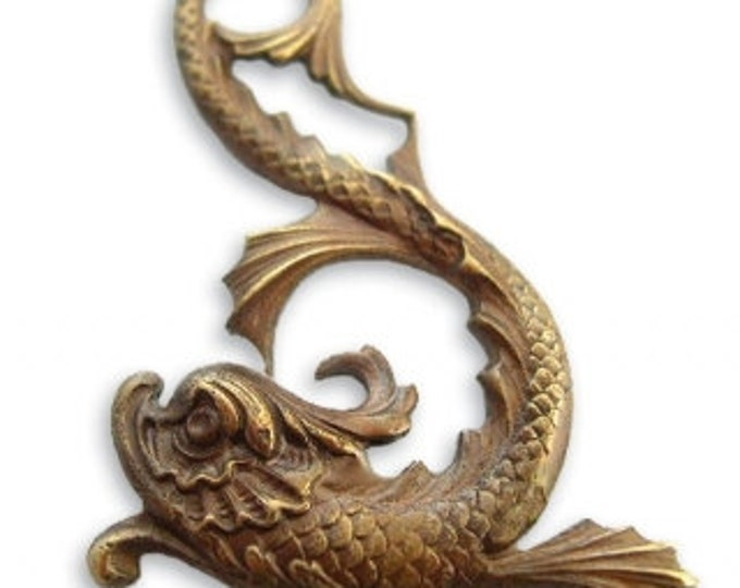 Asian Marine Dolphin Brass Pendant Vintaj Natural Brass P20