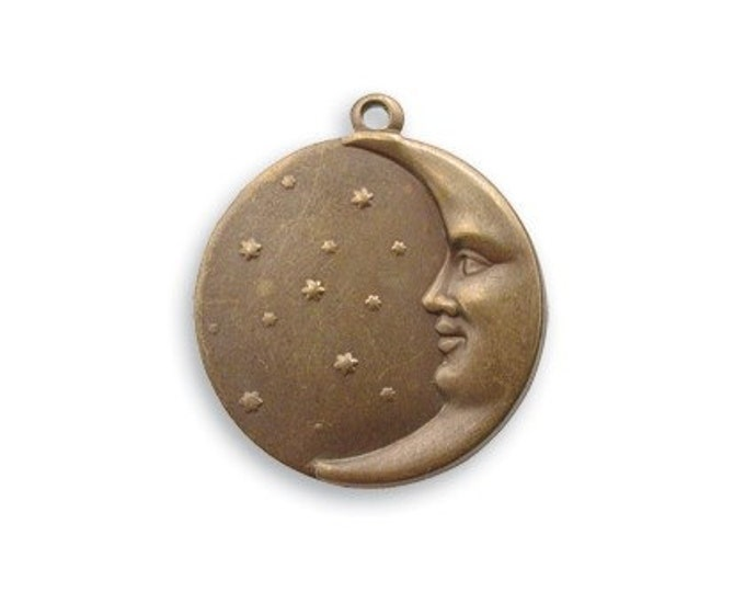 4 pieces  brass Moon Face Charms by VINTAJ -  DP180